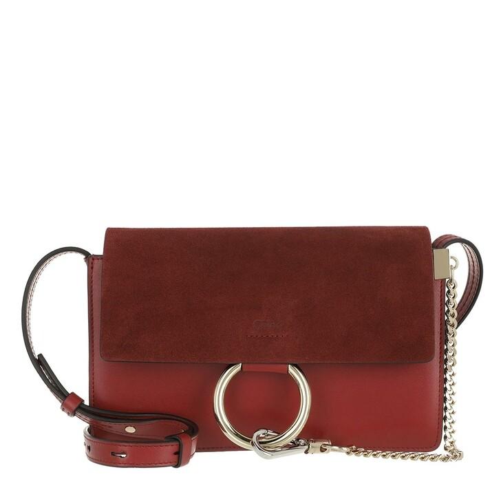 Handtasche, Chloé, Faye Shoulder Bag Suede Calfskin Smoked Red