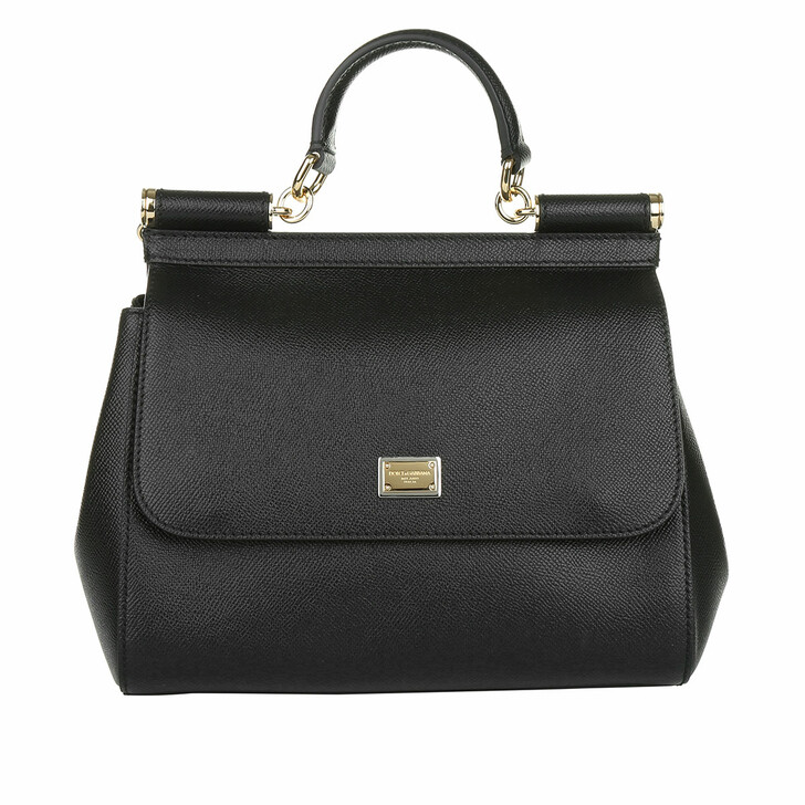 bags, Dolce&Gabbana, Sicily Bag Medium Dauphine Calfskin Black