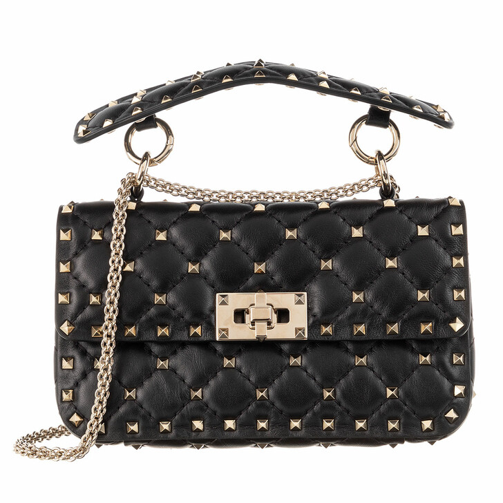 Handtasche, Valentino Garavani, Rockstud Spike Crossbody Bag Small Black