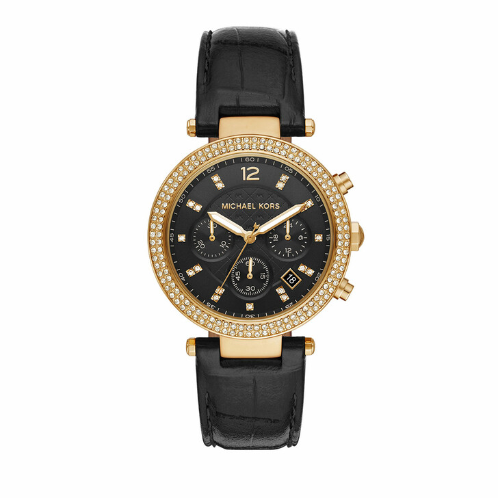 watches, Michael Kors, Women's Parker Chronograph Stainless Steel Watch M Gold Black