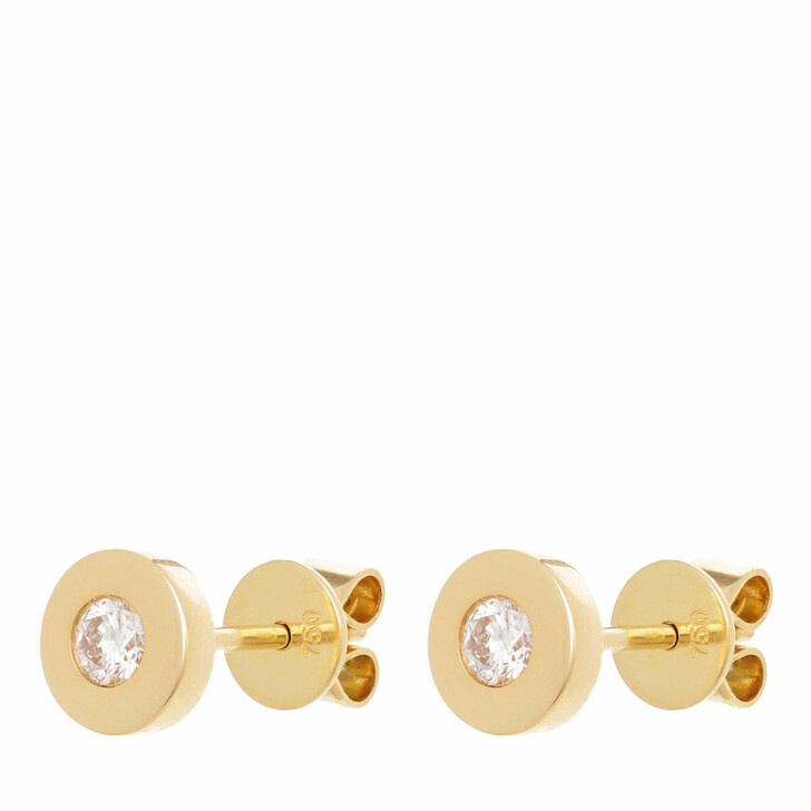 earrings, VOLARE, Earring Studs 2 Brill ca. 0,20 Yellow Gold