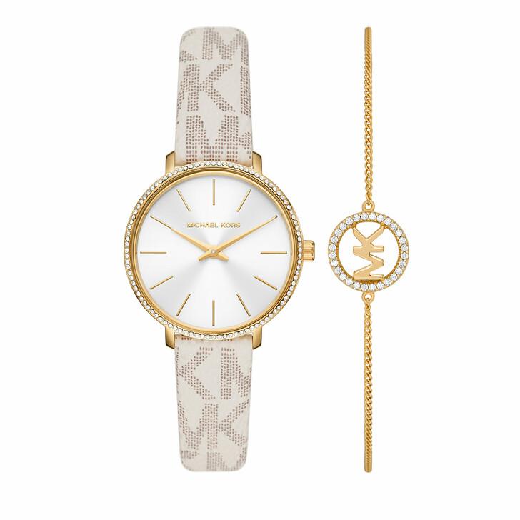 watches, Michael Kors, Pyper Two-Hand PVC Watch and Bracelet Set Vanilla