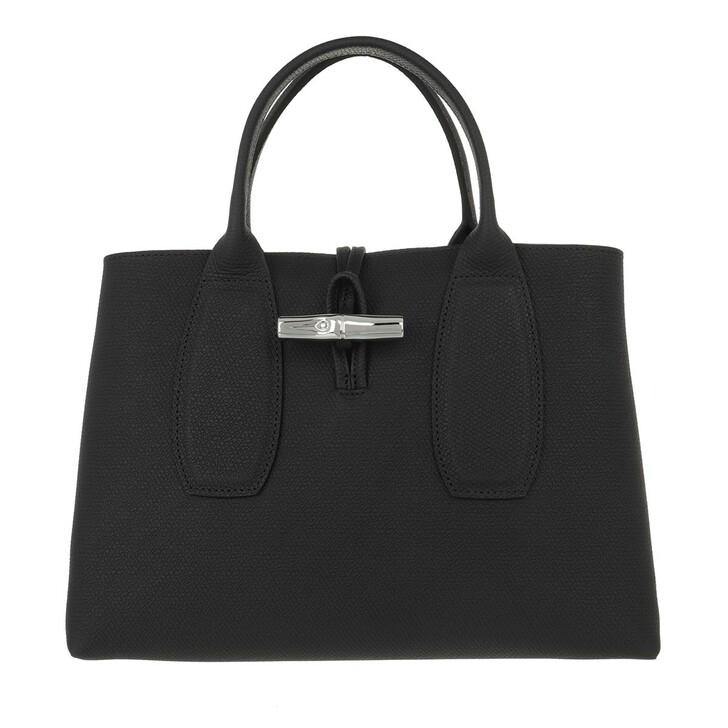 bags, Longchamp, Roseau Handbag  Black