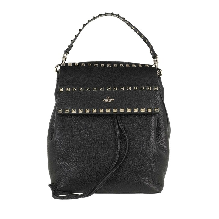 bags, Valentino Garavani, Rockstud Backpack Calf Black
