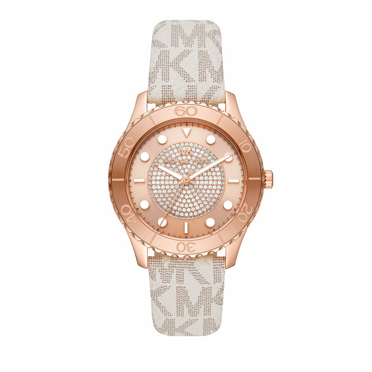 watches, Michael Kors, Women's Runway Three-Hand Stainless Steel Watch MK Rose Gold White