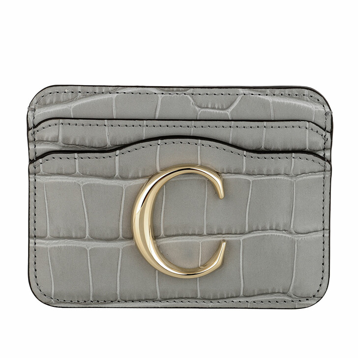 wallets, Chloé, Branded Card Case Leather Stormy Grey