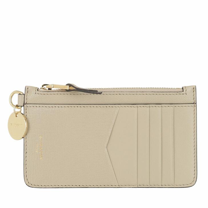 Geldbörse, Givenchy, GV3 Zipped Card Case Leather Beige