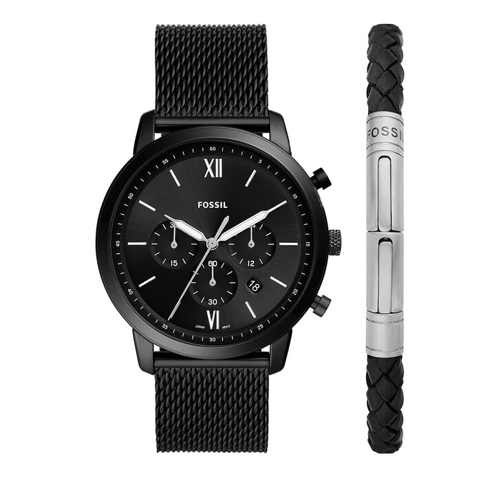 watches, Fossil, Neutra Chronograph Stainless Steel Mesh Watch and  Black
