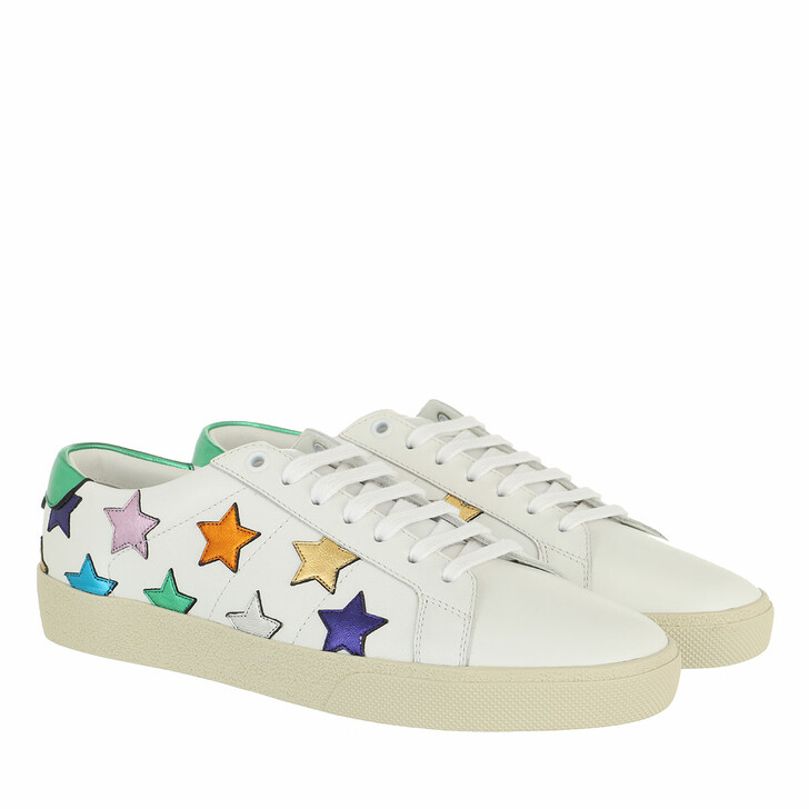 shoes, Saint Laurent, Court Classic Star Sneakers Optic White/Green/Multi