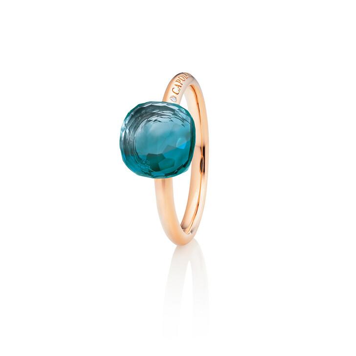 "rings, Capolavoro, Ring ""Happy Holi"" 18K Rose Gold, Topaz London Blue"