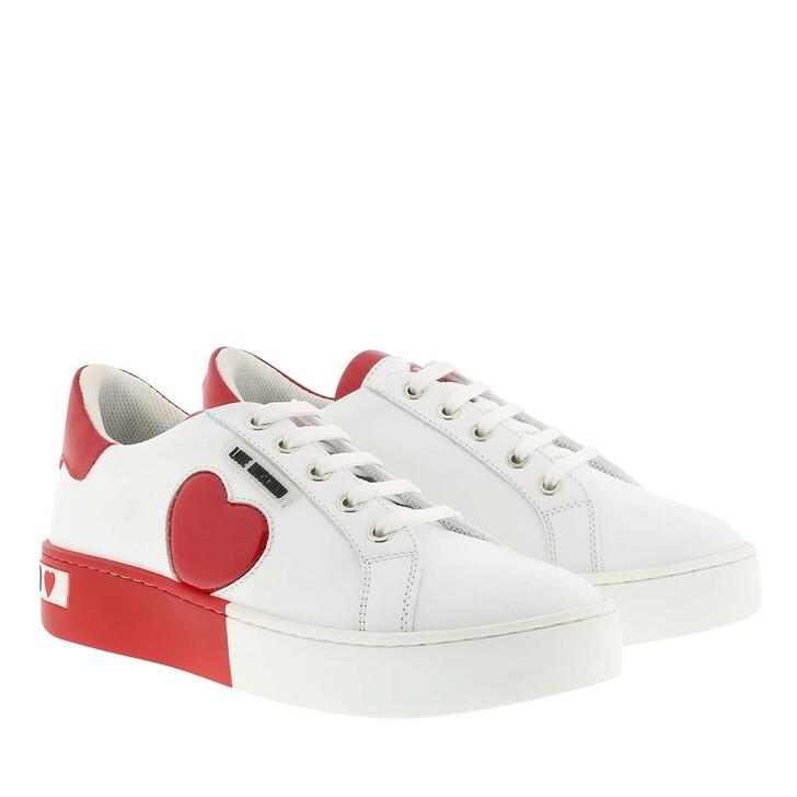 Schuh, Love Moschino, Sneaker Cassetta Bianco Rosso
