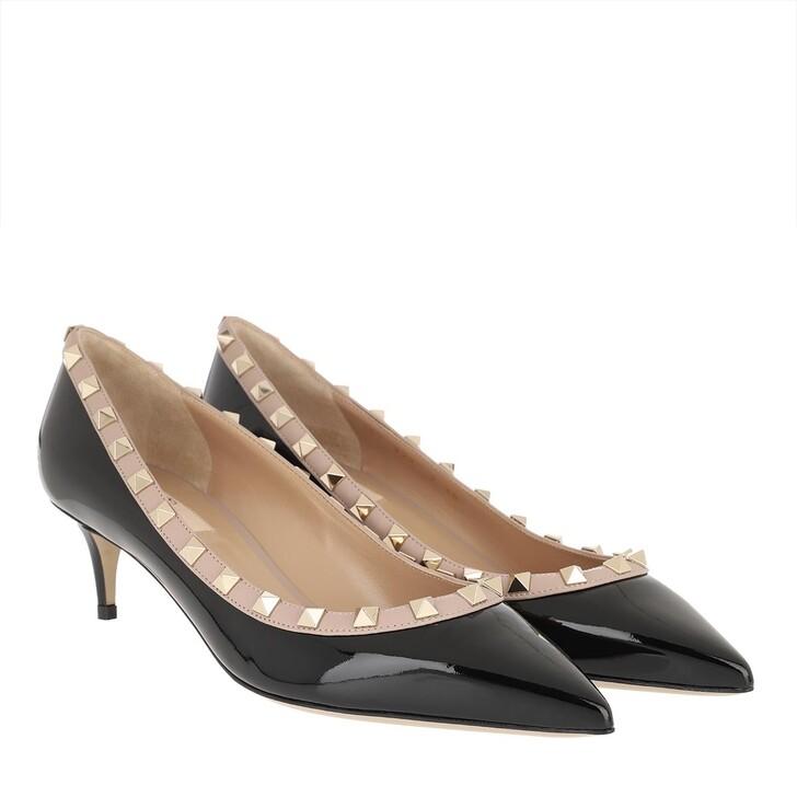 shoes, Valentino Garavani, Rockstud Pumps 80 Patent Black/Poudre