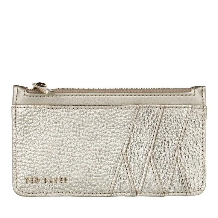 wallets, Ted Baker, GERII Diagonal Zipped Card Holder GOLD