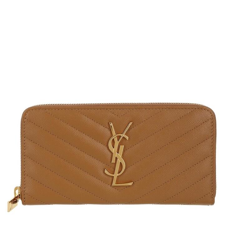 wallets, Saint Laurent, Monogramme Grain De Poudre Zip Around Wallet Biscuit