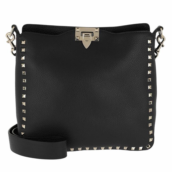 Handtasche, Valentino Garavani, Rockstud Nappa Messenger Bag Nero