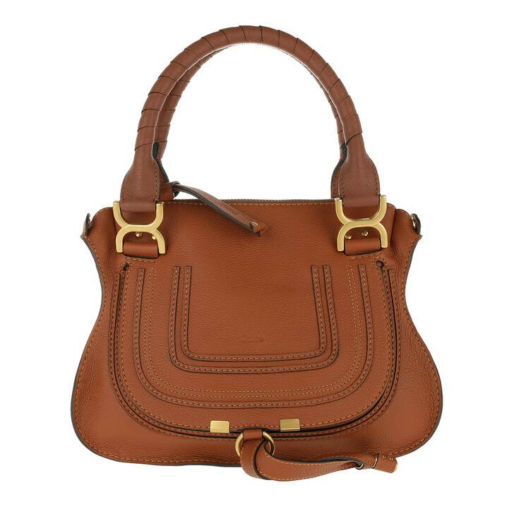 Handtasche, Chloé, Marcie Crossbody Bag Grained Calfskin Tan