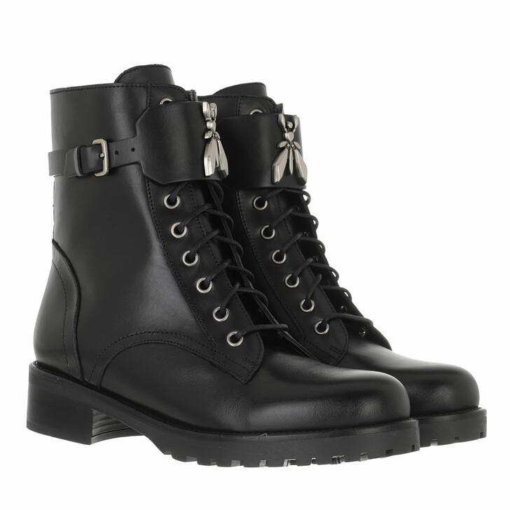 shoes, Patrizia Pepe, Biker Boots Black/White Silver