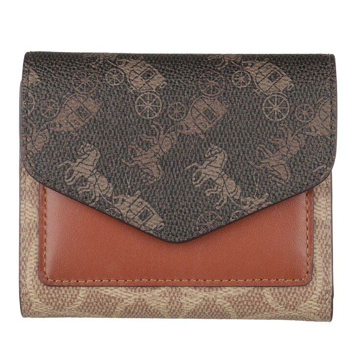 wallets, Coach, Signature Carriage Wyn Small Wallet B4/Tan Brown Rust