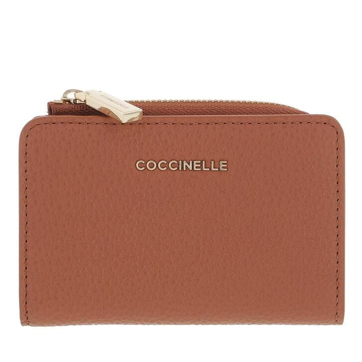 wallets, Coccinelle, Metallic Soft Credit Card Holder Cinnamon