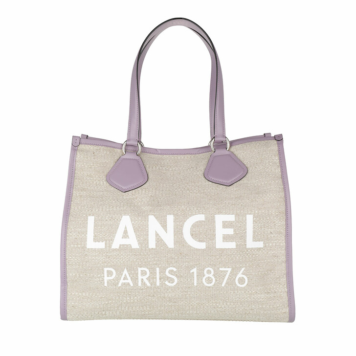 Handtasche, Lancel, Summer Jute Canvas And Smooth Leather Tote Large Natural/Mauv