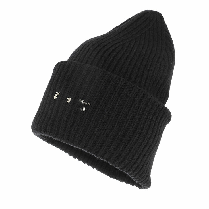 hats, Off-White, Ribbed Beanie Black