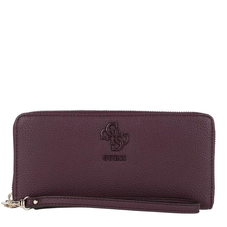 wallets, Guess, Digital Large Zip Around Wallet Merlot