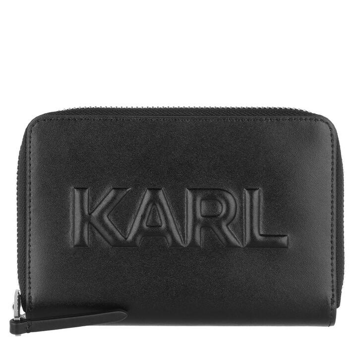 wallets, Karl Lagerfeld, K/Karl Seven Emboss Md Zip Wt A999 Black