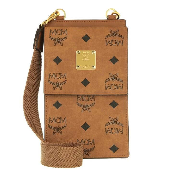 Geldbörse, MCM, Visetos Original Mini Wallet With Neckstrap Cognac
