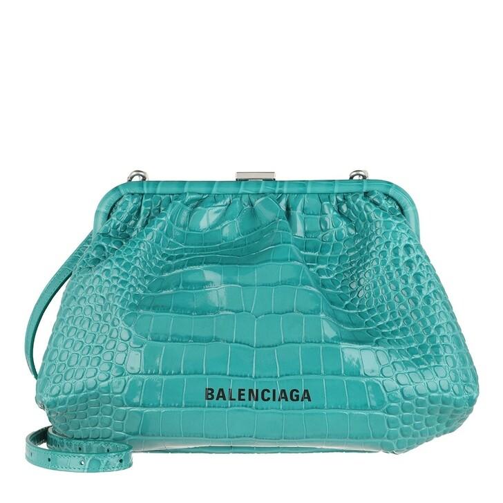 Handtasche, Balenciaga, Cloud Clutch With Strap Croc Print Leather Dark Turquoise