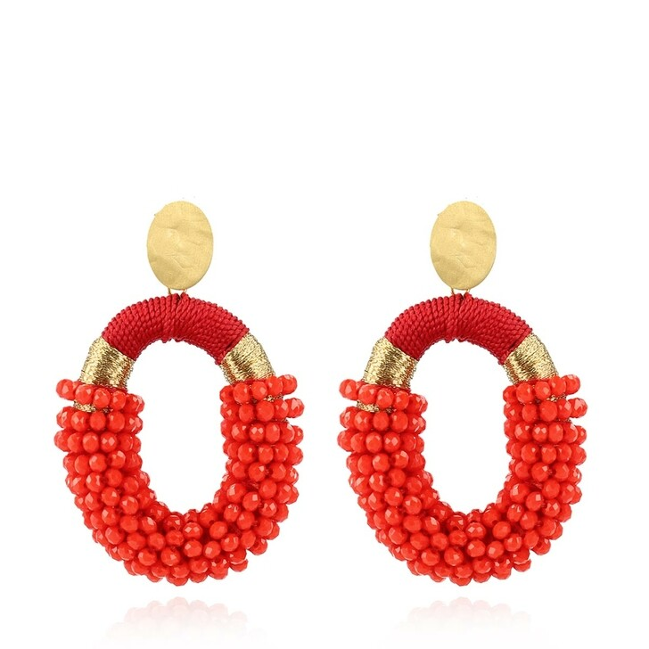 Ohrring, LOTT.gioielli, Glassberry Combi Oval M Earrings Red and Gold