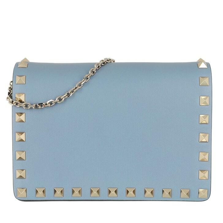 Handtasche, Valentino Garavani, Rockstud Portatutto Pouch Black Niagara Blue
