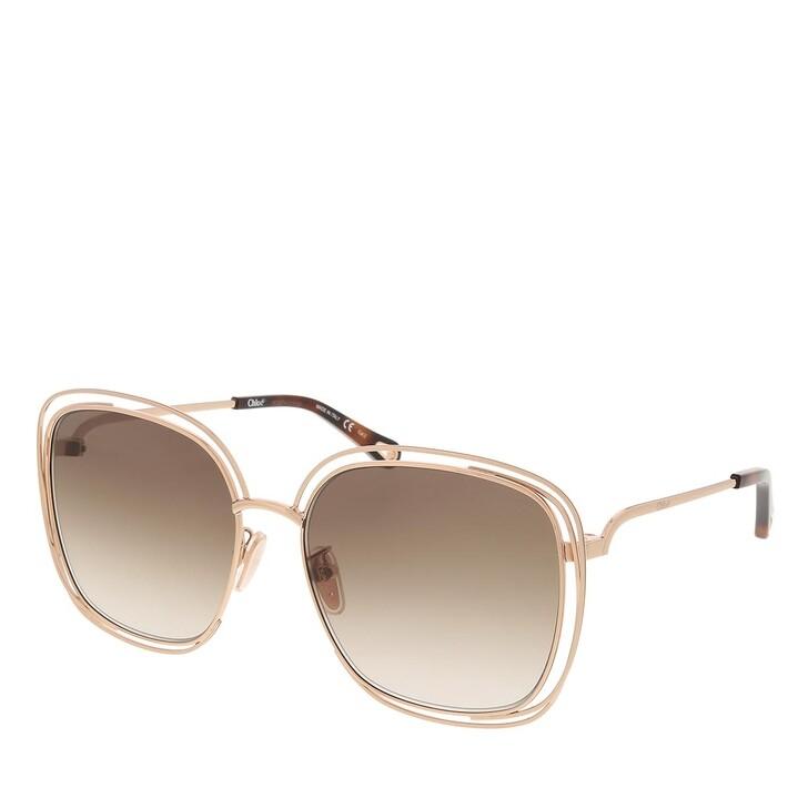 sunglasses, Chloé, CH0077SK-002 58 Sunglass Woman Metal Gold-Gold-Brown
