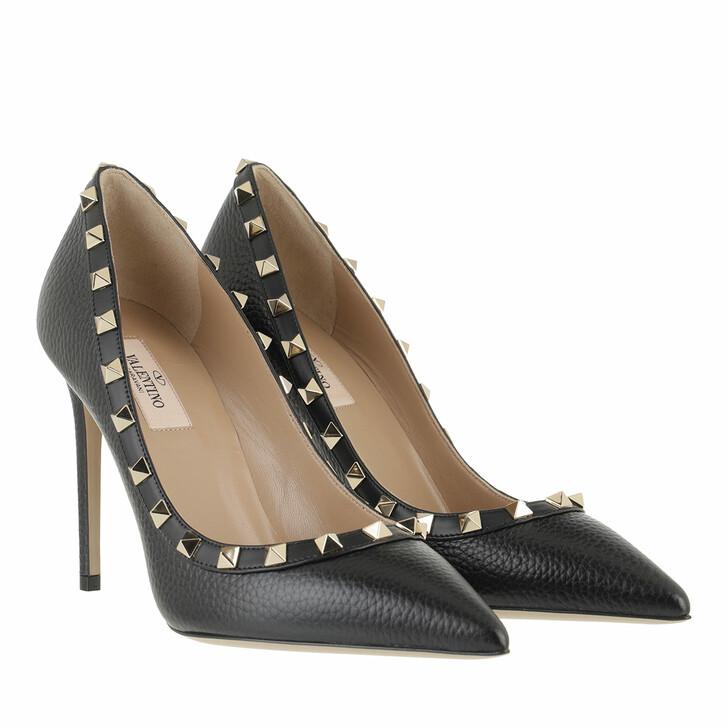 Schuh, Valentino Garavani, Rockstud Pump Grained Leather Nero