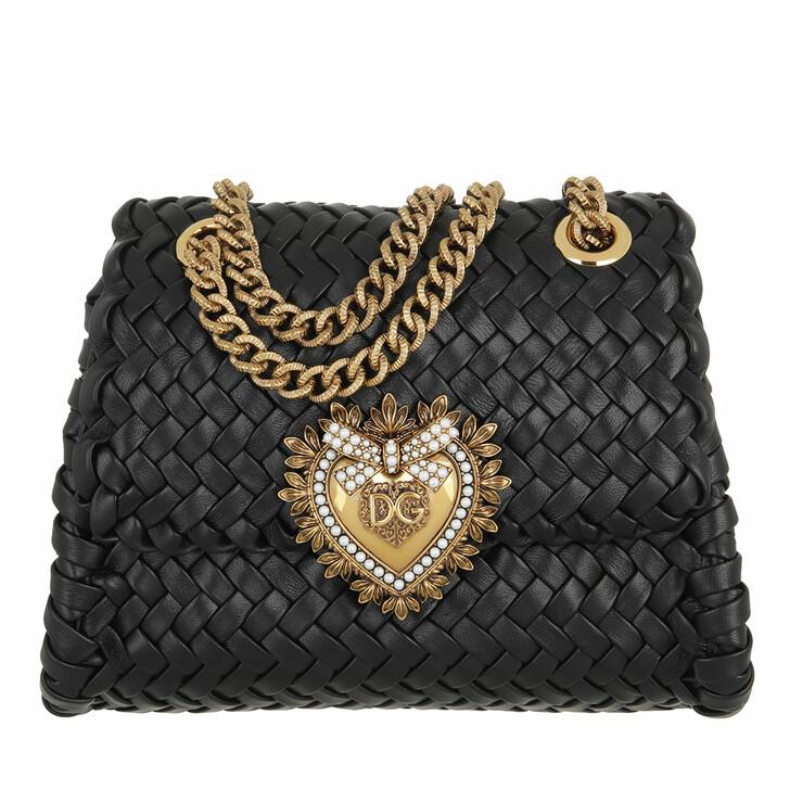 bags, Dolce&Gabbana, Small Devotion Crossbody Bag Woven Calfskin Black