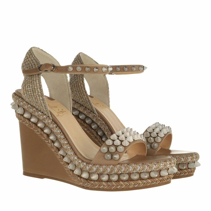 shoes, Christian Louboutin, Lata Heel Espadrilles Calfskin Fennec Sand