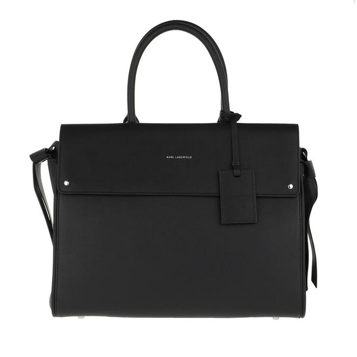 bags, Karl Lagerfeld, Ikon Large Top Handle Bag Black
