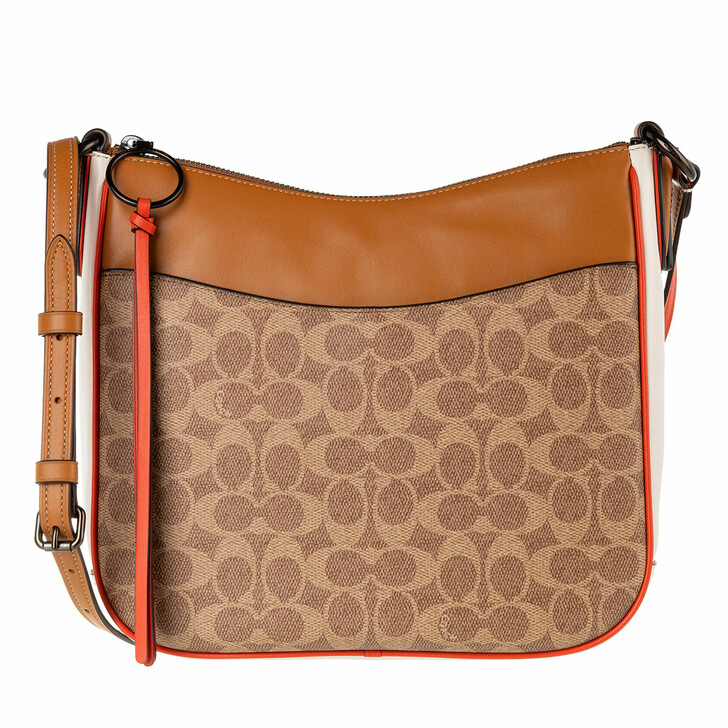 Handtasche, Coach, Coated Canvas Signature Colorblock Contrast Trim C Tan Chalk Multi