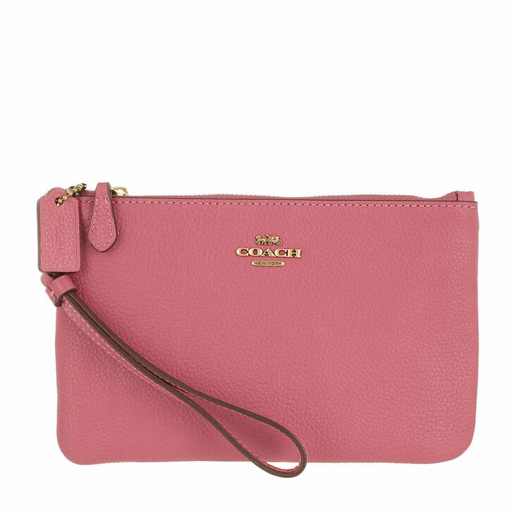 bags, Coach, Polished Pebble Small Wristlet B4/Rouge