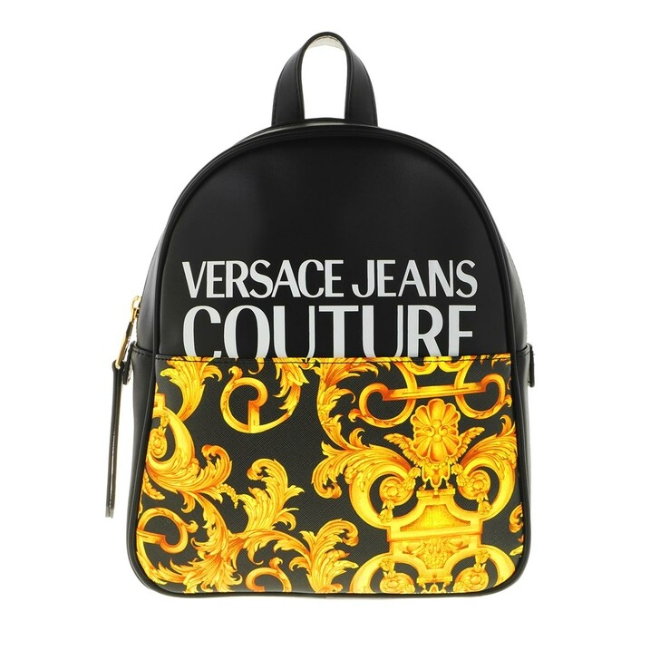 Reisetasche, Versace Jeans Couture, Backpack Leather Black Gold