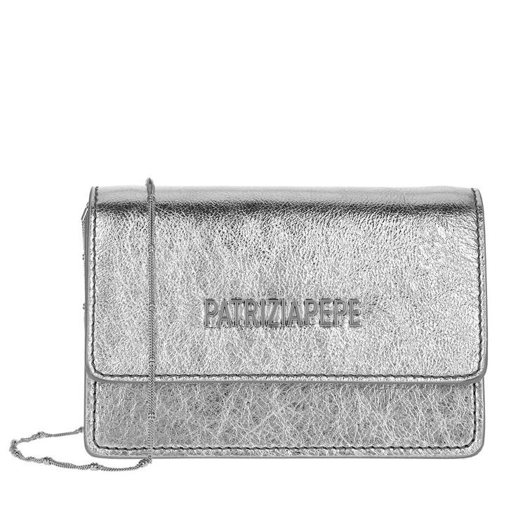 Handtasche, Patrizia Pepe, Mini Shoulder Bag Piping Metallic Logo Silver