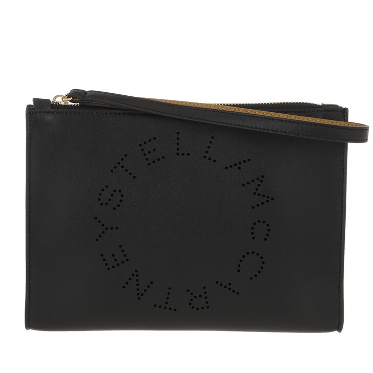 Handtasche, Stella McCartney, Zip Pouch With Perforated Logo Leather Black