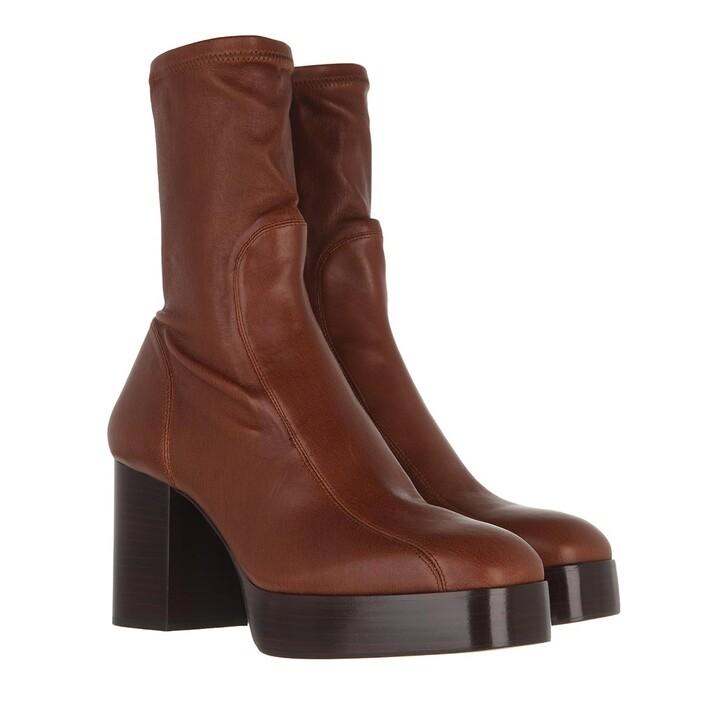 shoes, Chloé, Block Heel Boots Leather Dusky Brown