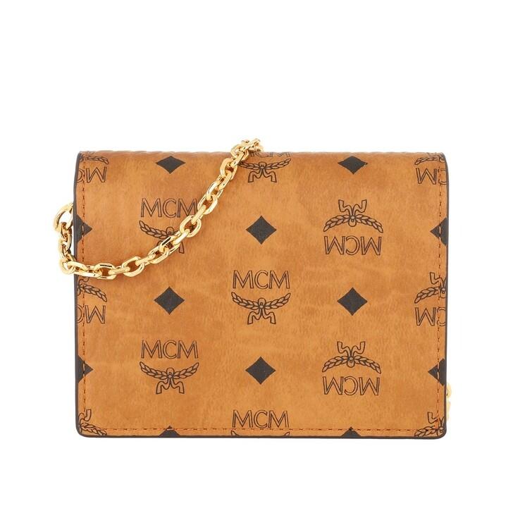 wallets, MCM, Visetos Original Bi Fold Mini Wallet Zip Cognac