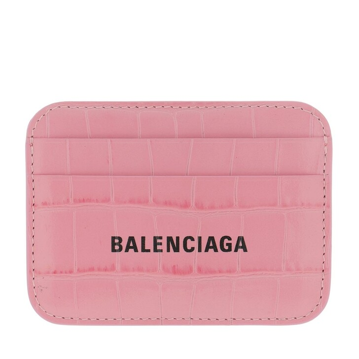 Geldbörse, Balenciaga, Logo Card Holder Pink