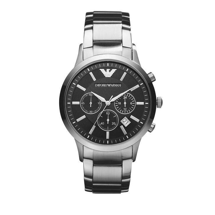 watches, Emporio Armani, Men's Two-Hand Stainless Steel Watch Silver