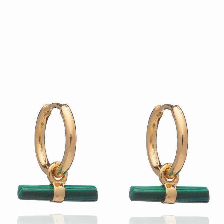 Ohrring, Rachel Jackson London, Mini Malachite T Bar Huggie Hoop Earrings Gold