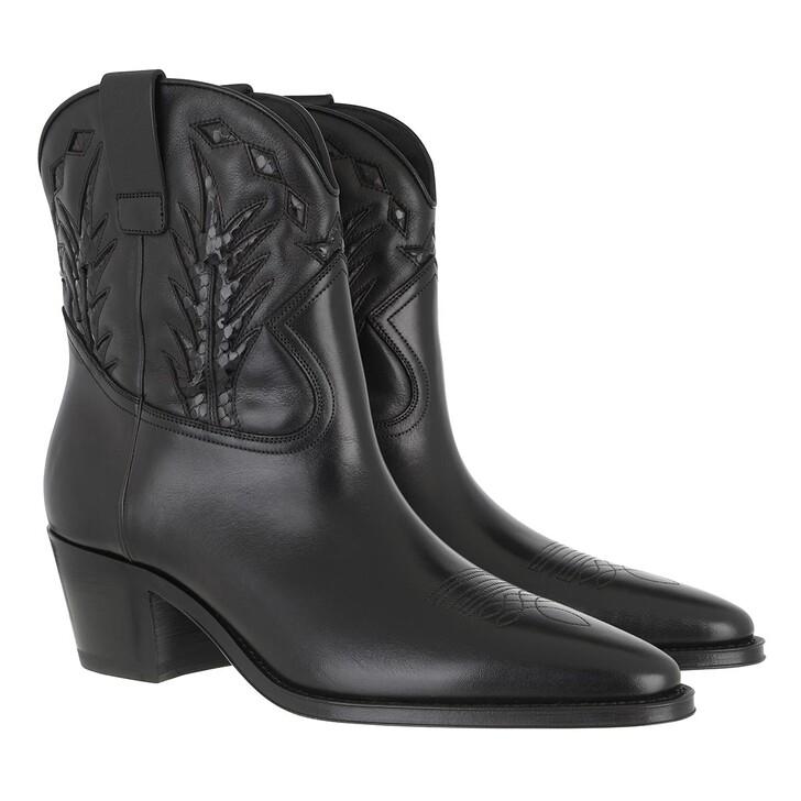 Schuh, Celine, Western Ankle Boots Calfskin Black