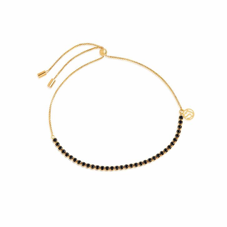 Armreif, Sif Jakobs Jewellery, Ellera Tennis Bracelet With Adjustable Chain Black Yellow Gold