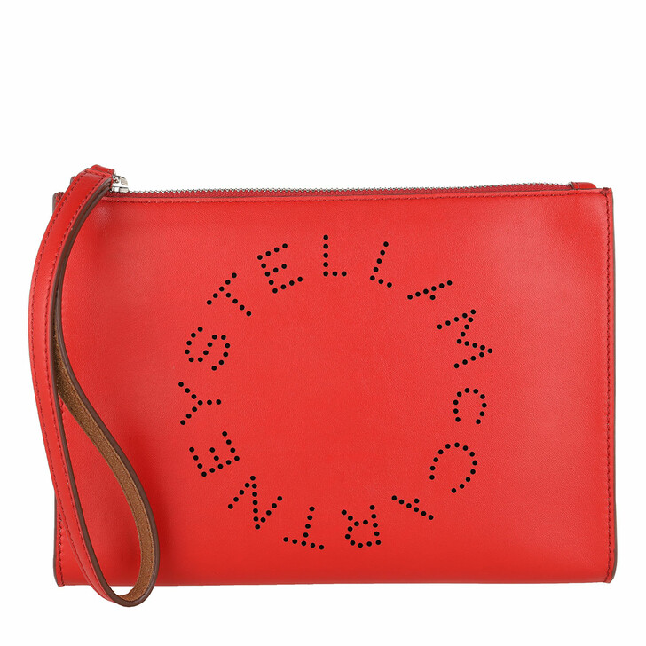 Handtasche, Stella McCartney, Zip Pouch With Perforated Logo Leather Red Amore