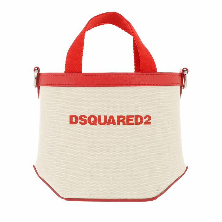 bags, Dsquared2, Mini Tote Bag Beige/Red
